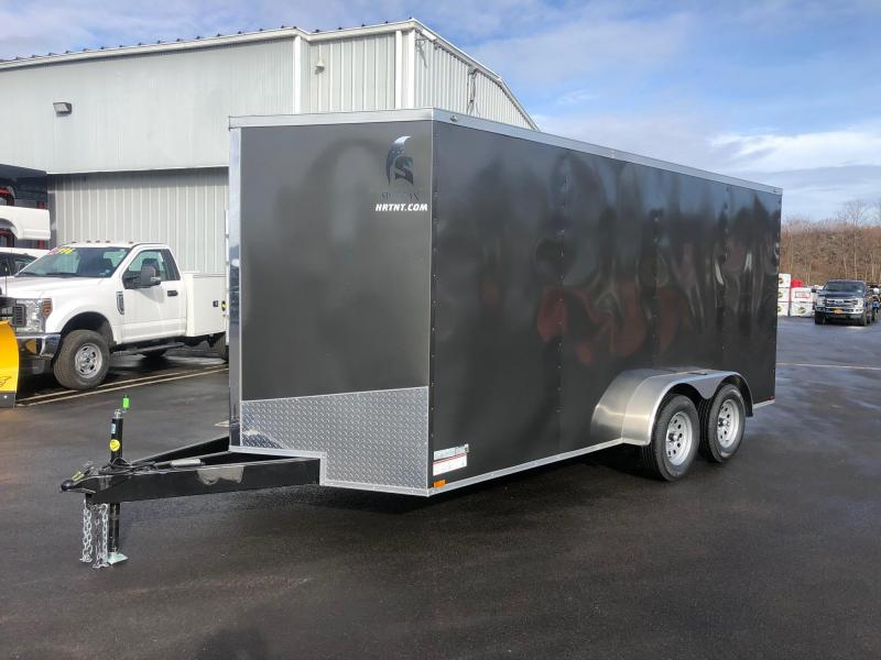 SPARTAN CARGO 2020 7X16 TANDEM AXLE CHARCOAL SEMI SCREWLESS EXTENDED TRIPLE TUBED TONGUE ENCLOSED TRAILER