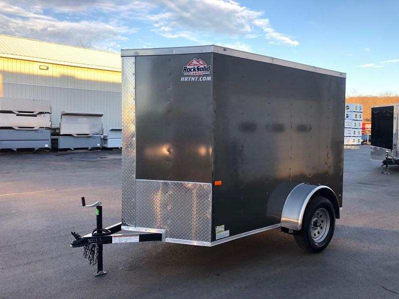 "ROCK SOLID 2020 5' x 8' SINGLE AXLE CHARCOAL ENCLOSED TRAILER with 12"" ADDITIONAL HEIGHT"