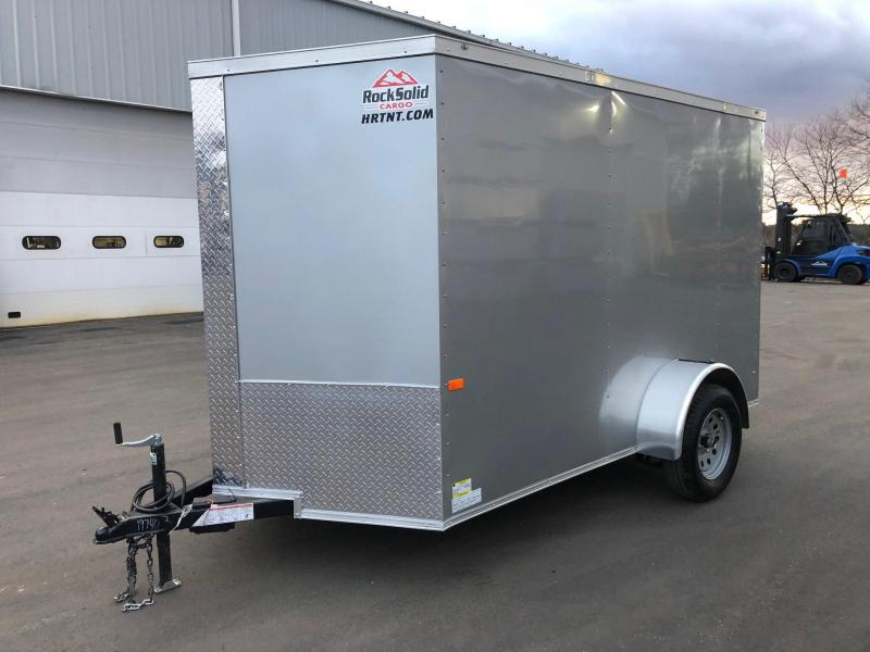 ROCK SOLID 2020 6' x 10' SINGLE AXLE SILVER SEMI- SCREWLESS ENCLOSED TRAILER