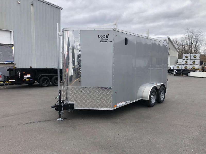 2020 Look 7x14' Tandem Axle Screwless Silver Enclosed Cargo Trailer w/Ladder Racks