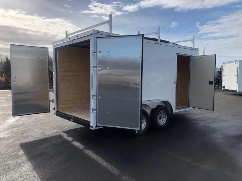 SPARTAN CARGO 2020 7X14 TANDEM AXLE WHITE SEMI SCREWLESS WALK ON ROOF WITH LADDER RACK ENCLOSED TRAILER