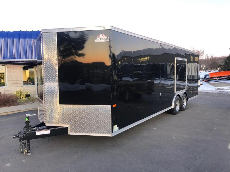 ROCK SOLID 2020 8.5' x 24' TANDEM AXLE BLACK V-NOSE SEMI SCREWLESS W/ TRIPLE TUBE TONGUE AND 54 X 48 ESCAPE DOOR ENCLOSED CARGO TRAILER / CAR HAULER
