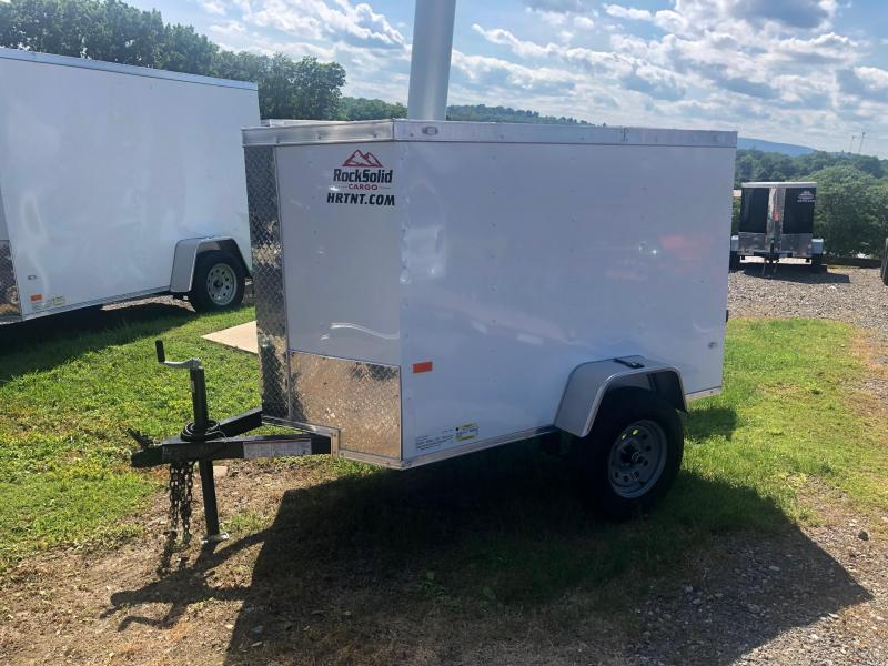 ROCK SOLID 2020 4' x 6' SINGLE AXLE WHITE  ENCLOSED TRAILER