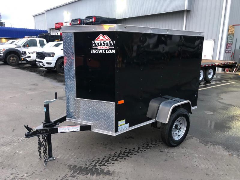 ROCK SOLID 2020 4' x 6' SINGLE AXLE BLACK  ENCLOSED TRAILER