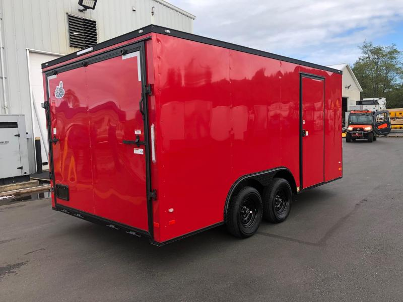 COVERED WAGON 2020 8.5' x 16' TANDEM AXLE SEMI-SCREWLESS  RED WITH BLACK TRIM ENCLOSED CARGO TRAILER