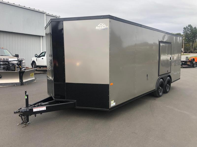 ROCK SOLID 2020 8.5 x 20 TANDEM AXLES PEWTER WITH BLACK TRIM SEMI SCREWLESS W/ TRIPE TUBE TONGUE AND ESCAPE DOOR ENCLOSED CARGO TRAILER/  CAR HAULER