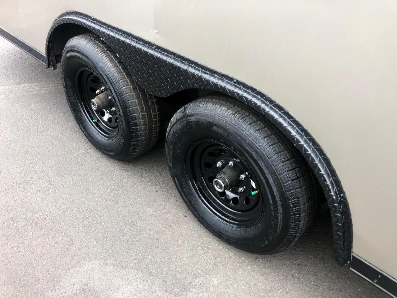 ROCK SOLID 2020 8.5 x 20 TANDEM AXLES PEWTER WITH BLACK TRIM SEMI SCREWLESS W/ TRIPE TUBE TONGUE AND ESCAPE DOOR ENCLOSED CARGO TRAILER/  CAR HAULER
