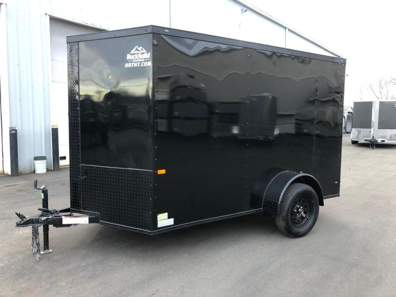 ROCK SOLID 2020 6' x 10' SINGLE AXLE  BLACK W/ BLK TRIM SEMI- SCREWLESS ENCLOSED TRAILER