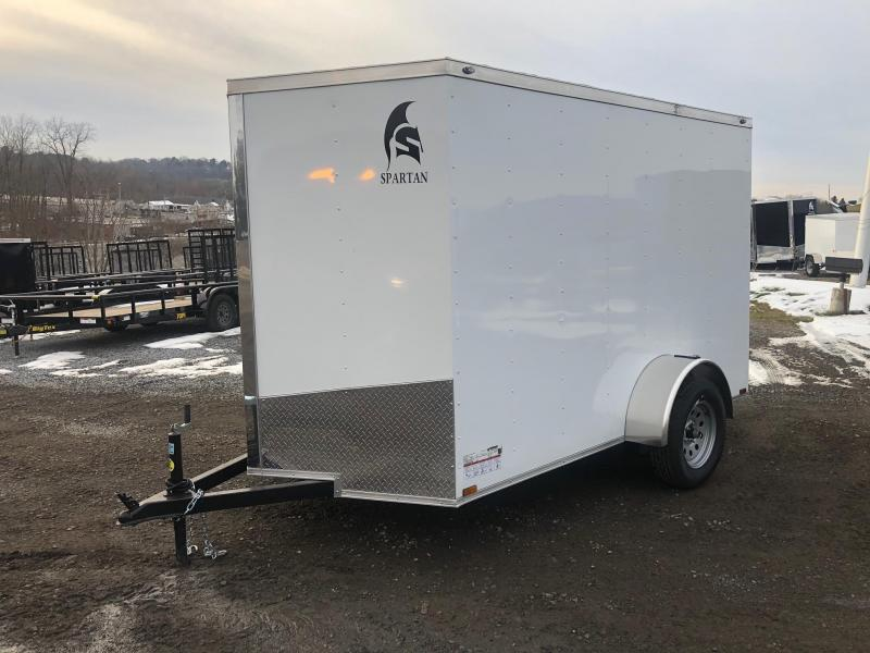 SPARTAN CARGO 2020 6X10 SINGLE AXLE WHITE SEMI SCREWLESS ENCLOSED TRAILER