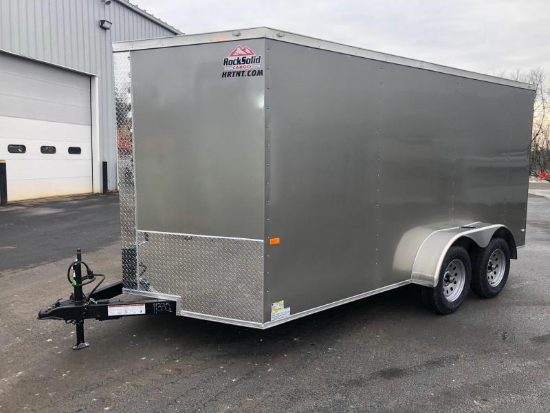 ROCK SOLID 2020 7' x 14 PEWTER SEMI-SCREWLESS TANDEM AXLE V-NOSE ENCLOSED TRAILER