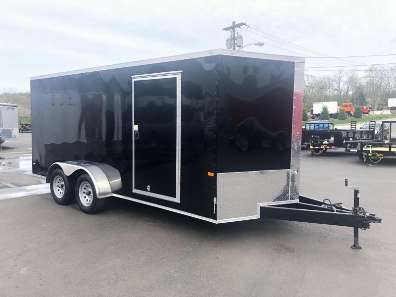 ROCK SOLID 2020 7' x 16' TANDEM AXLE BLACK SEMI SCREWLESS  V-NOSE ENCLOSED TRAILER WITH EXTENDED TONGUE