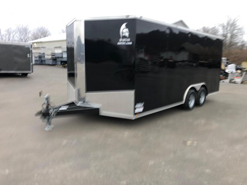 SPARTAN CARGO 2020 8.5 X 18 TANDEM AXLE BLACK SEMI SCREWLESS WITH TRIPLE TUBED TONGUE ENCLOSED TRAILER