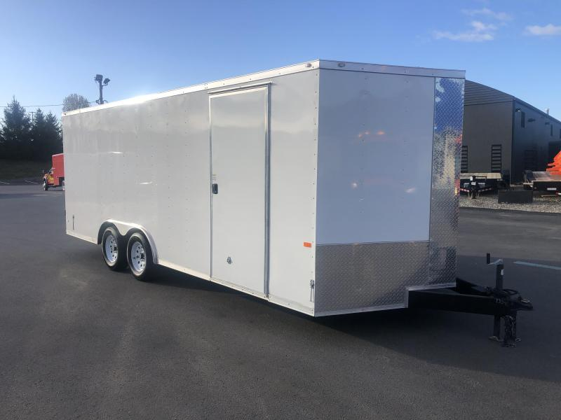 ROCK SOLID 2020 8.5' x 20' TANDEM AXLE WHITE SEMI-SCREWLESS V-NOSE ENCLOSED/ CARGO TRAILER