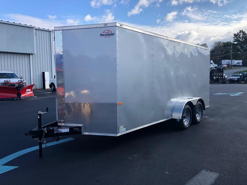 ROCK SOLID 2020 7' x 16' TANDEM AXLE SILVER FROST SEMI-SCREWLESS V-NOSE ENCLOSED TRAILER