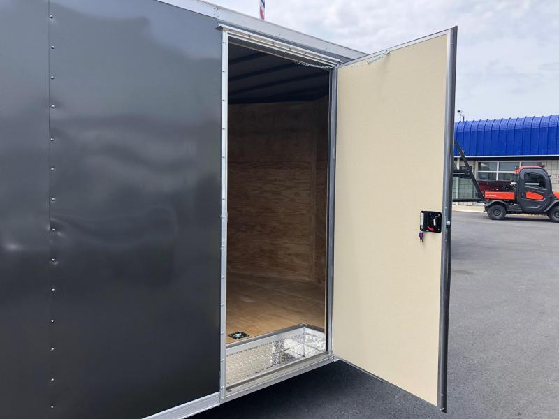 ROCK SOLID 2020 8.5 x 20 TANDEM AXLE CHARCOAL SEMI SCREWLESS ENCLOSED TRAILER W/ TRIPLE TUBE TONGUE EXTENDED