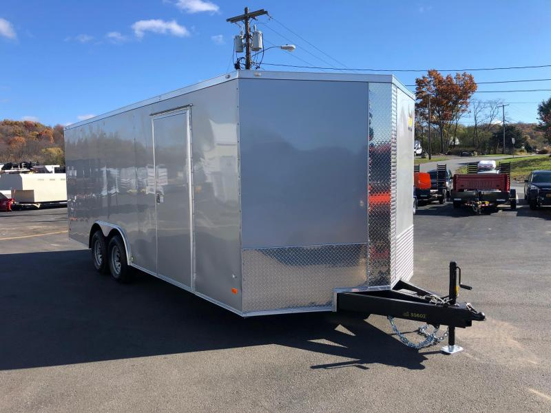 COVERED WAGON 2020 SILVER 8.5' x 20' SEMI-SCREWLESS ENCLOSED CARGO TRAILER WITH SIDE ACCESS DOOR AND EXTENDED TRIPLE TUBED TONGUE