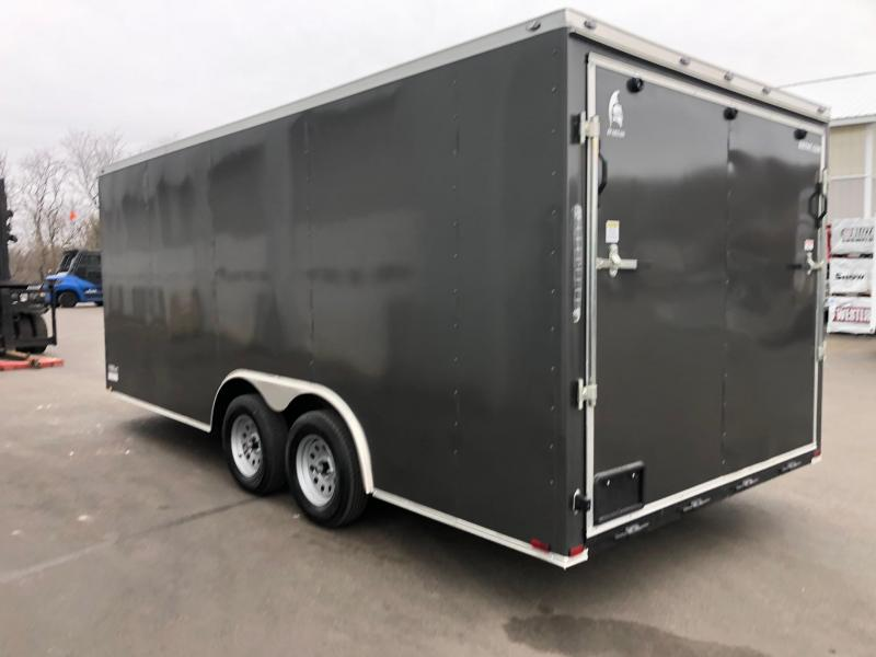 SPARTAN CARGO 2020 8.5 X 18 TANDEM AXLE CHARCOAL SEMI SCREWLESS WITH TRIPLE TUBED TONGUE ENCLOSED TRAILER