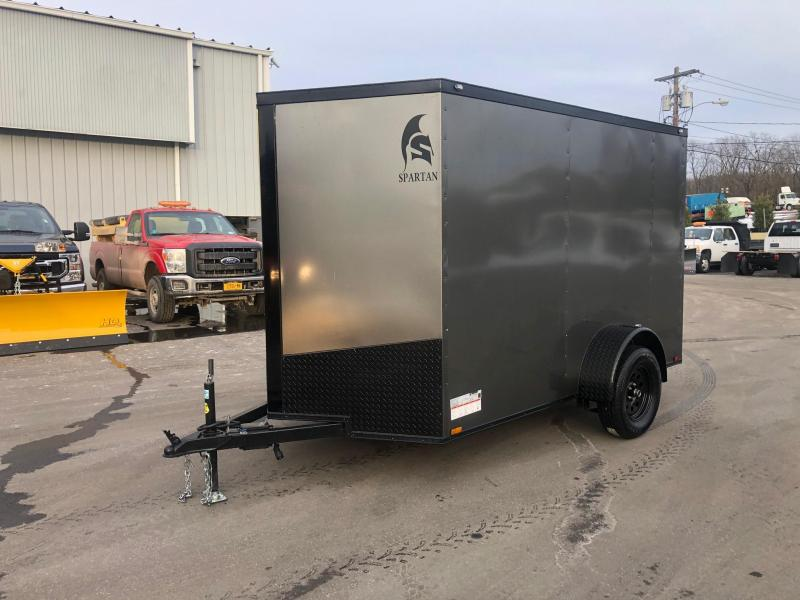 SPARTAN CARGO 2020 6X10 SINGLE AXLE CHARCOAL WITH BLACKOUT SEMI SCREWLESS ENCLOSED TRAILER