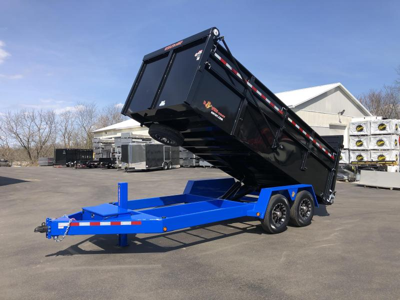 BWISE 2020 DU16-15 7' x 16' BLACK WITH BLUE TRIM ULTIMATE DUMP LOW PROFILE TRAILER