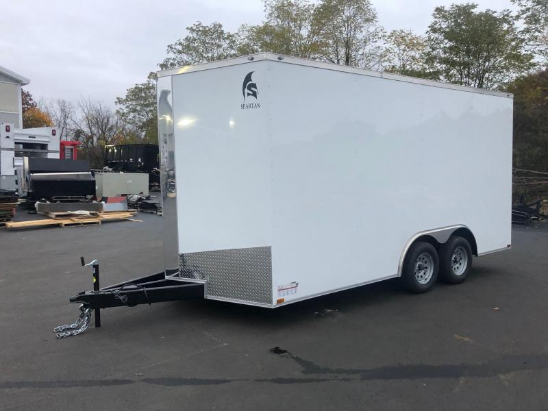 SPARTAN CARGO 2020 8.5 X 16 TANDEM AXLE WHITE SEMI SCREWLESS ENCLOSED TRAILER
