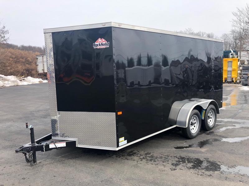 ROCK SOLID 2020 7' x 14'  BLACK TANDEM AXLE SEMI SCREWLESS V-NOSE ENCLOSED TRAILER