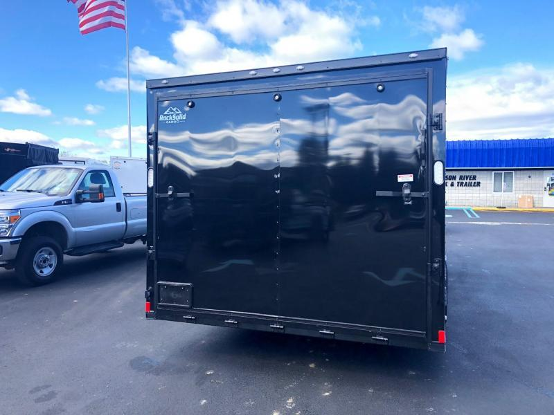 ROCK SOLID 2020 8.5' x 20' TANDEM AXLE BLACK W/ BLACK OUT PACKAGE V-NOSE CARGO TRAILER WITH TRIPLE TUBE TONGUE CAR HAULER