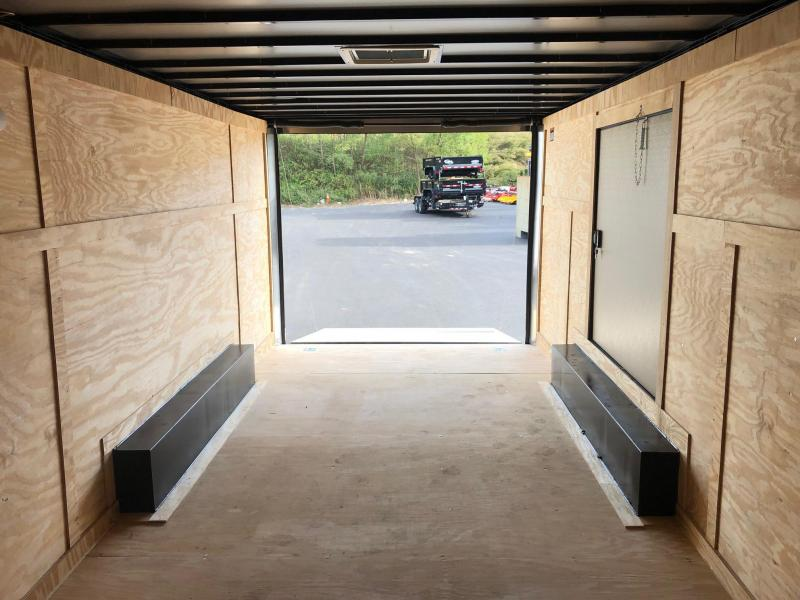 """COVERED WAGON 2020 8.5 X 20 BLACK with BLACK TRIM SEMI-SCREWLESS ENCLOSED CARGO TRAILER AND CAR HAULER WITH 60"""" TRIPLE TUBE TONGUE AND SIDE ACCESS DOOR"""