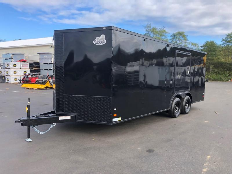 "COVERED WAGON 2020 8.5 X 20 BLACK with BLACK TRIM SEMI-SCREWLESS ENCLOSED CARGO TRAILER AND CAR HAULER WITH 60"" TRIPLE TUBE TONGUE AND SIDE ACCESS DOOR"