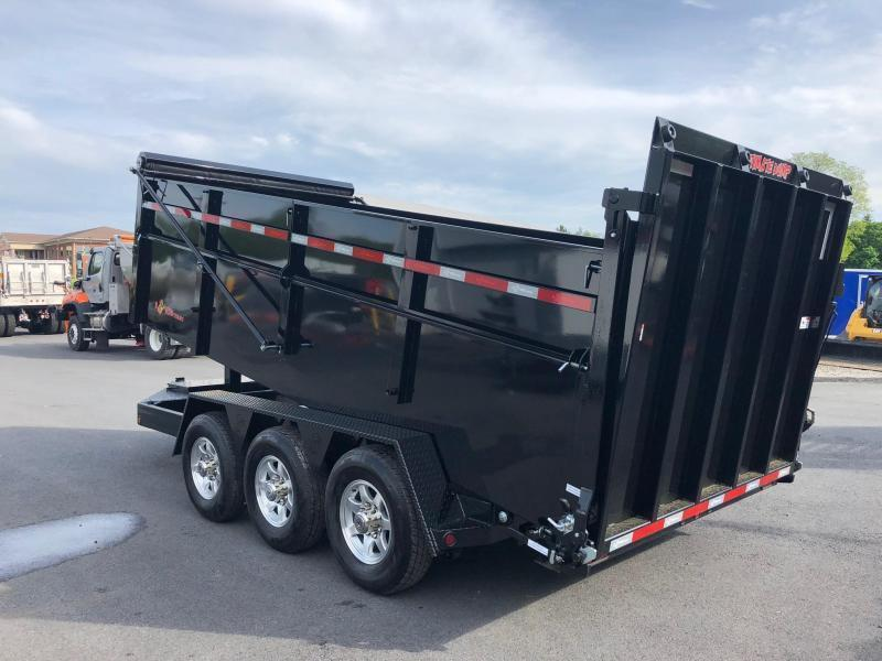BWISE 2020  7' x 16' BLACK ULTIMATE DUMP LOW PROFILE TRAILER TRI-AXLE 21000 GVWR