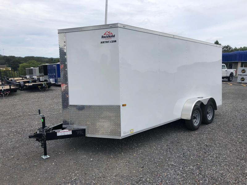 ROCK SOLID 2020 7' x 16' WHITE TANDEM AXLE SEMI-SCREWLESS V-NOSE ENCLOSED TRAILER