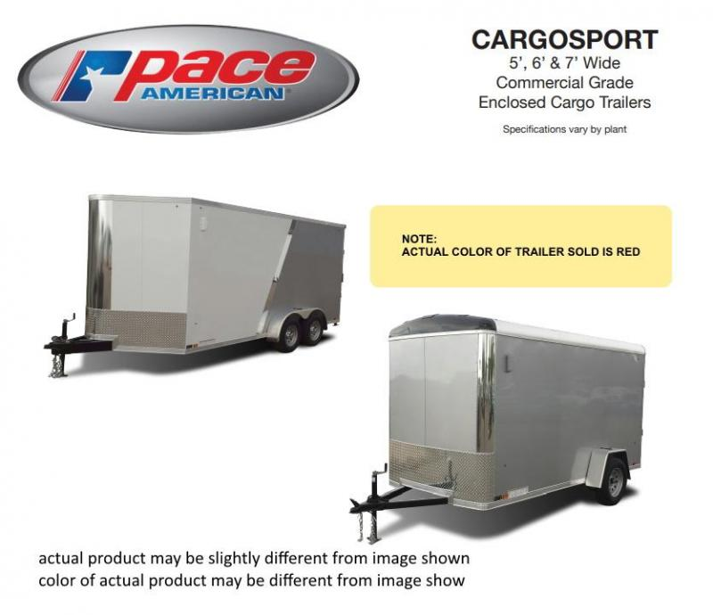 2020 Pace American 6 X 12 Cargo Sport 6 Wide Single Axle Trailer
