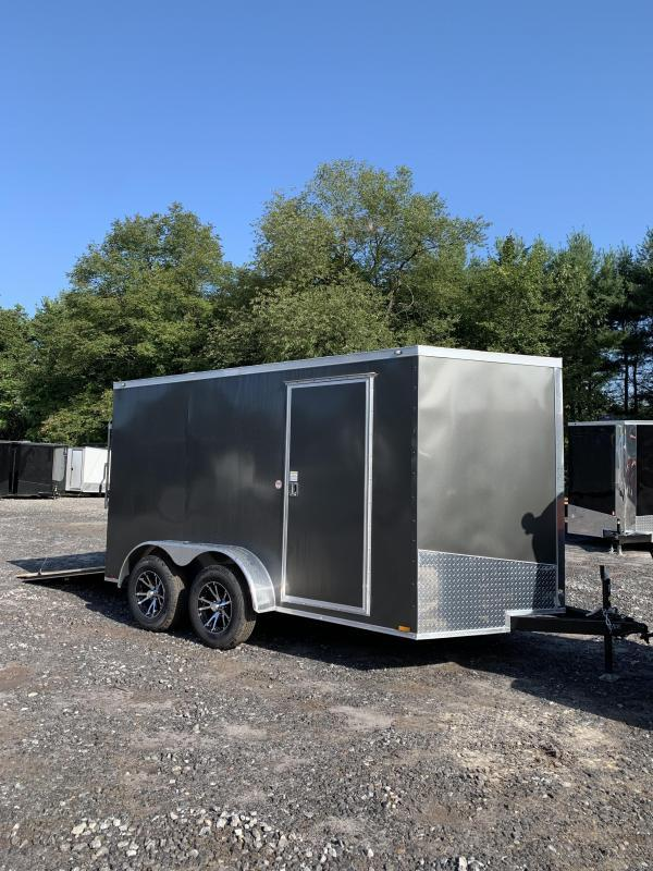 "SALE 2020 Spartan 7X12 +2ft V trailer ramp door/6"" extra height/alum. wheels"