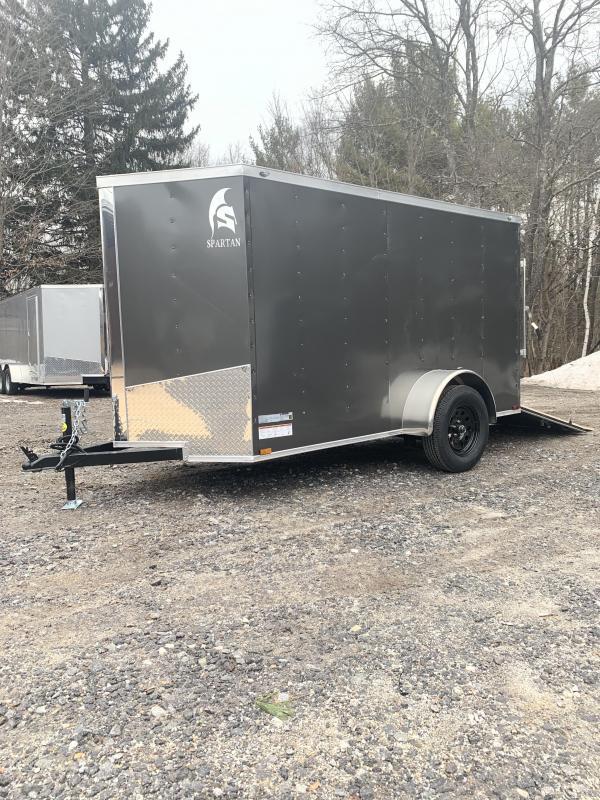 """2020 Spartan 5X10 +2ft V trailer ramp door/undercoated/6"""" extra"""