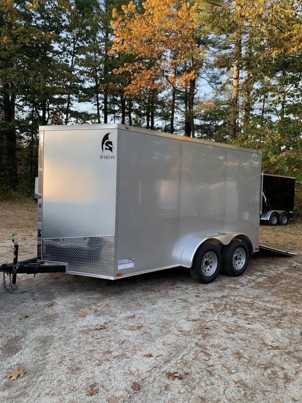 """SALE 2020 Spartan 7X12 +2ft V trailer ramp door/6"""" extra height/alum. wheels"""