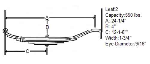 Slipper Spring 1k axle 24 62 length 2