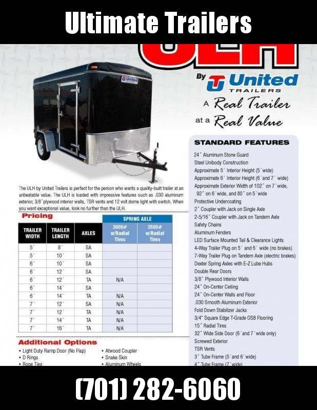 2019 United Trailers ULH Series 6x10 Enclosed Cargo Trailer