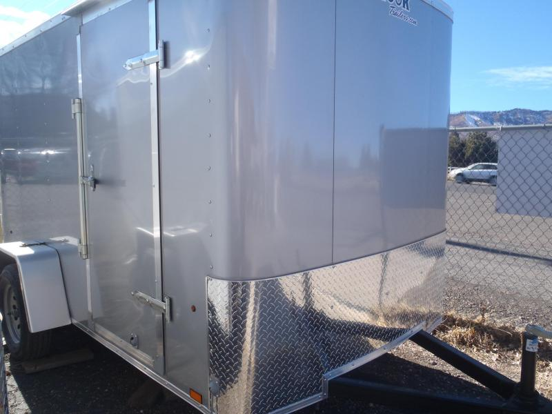 6x10 ST Enclosed Trailer Ramp Door Silver in color