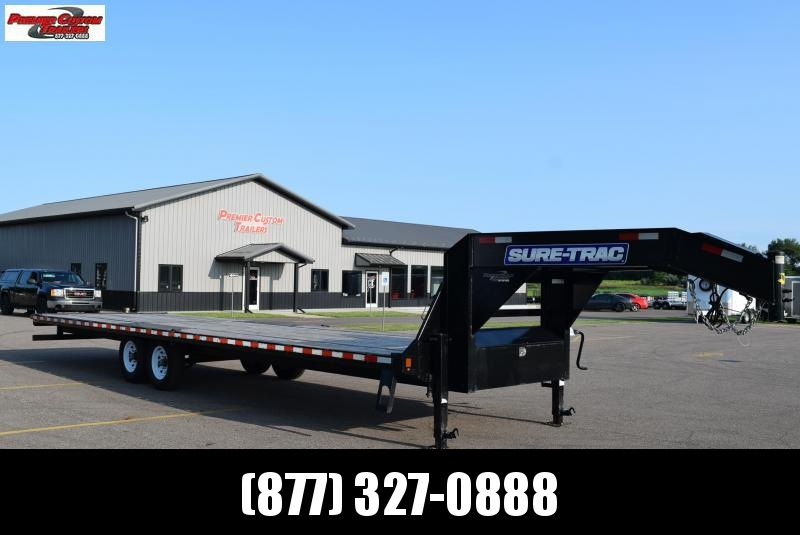USED 2019 SURE-TRAC 30' HOTSHOT GOOSENECK EQUIPMENT TRAILER