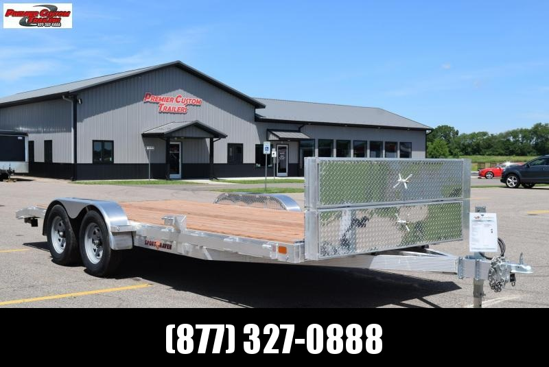 2020 SPORT HAVEN 18' ALUMINUM OPEN CAR HAULER w/ WOOD DECK