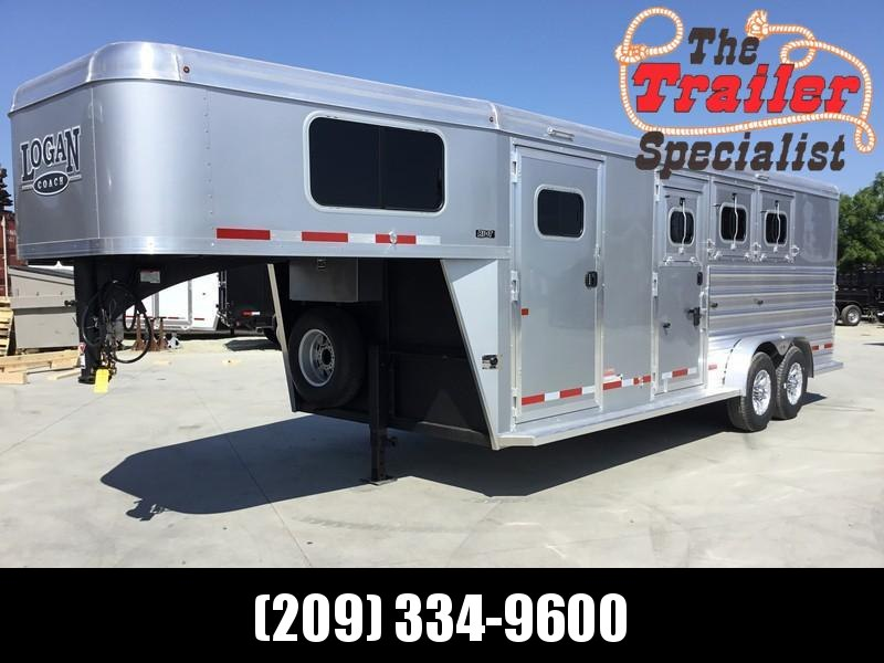 NEW 2019 Logan Coach 3 horse Riot Double door tack GN Horse Trailer