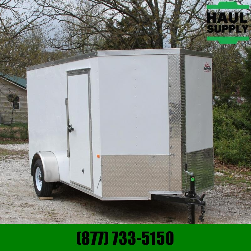Rock Solid Cargo 6X12 V-nose Cargo Trailer Double Doors D-Rings Thermocool