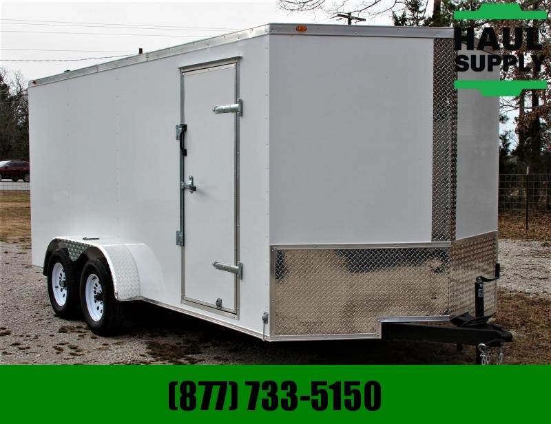 Traveler 7X16 TA CARGO TRAILER V NOSE REAR RAMP LE