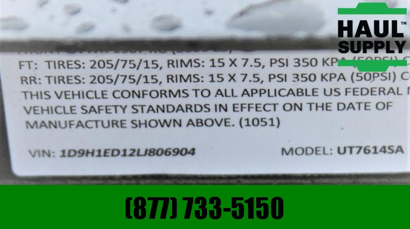 Stingray LLC 76X14SA UTILITY TRAILER 3' REAR GATE WITH