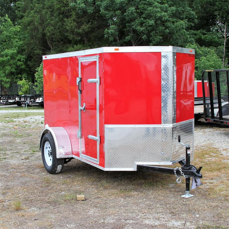 Traveler Cargo 5X8 V-nose Cargo Trailer Side Door Ramp L