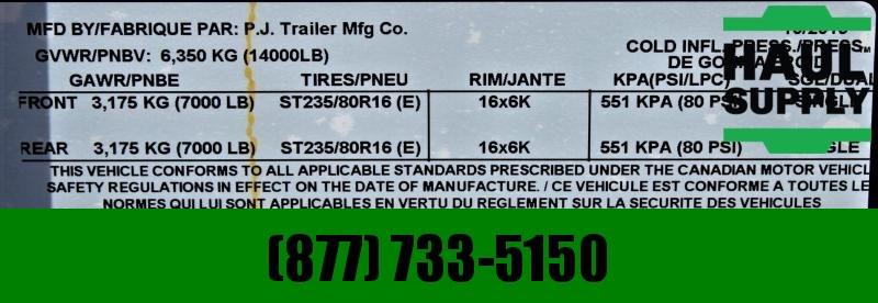 """PJ Trailers 83X14 14K LOW PRO 36"""" HIGH SIDE DUMP RAMP"""