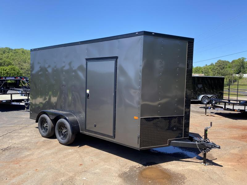 New 2020 Rock Solid 7ft x 14ft 7k Tandem Axle  Bumper Pull Enclosed w/7ft walls (Charcoal Gray W/ BO)