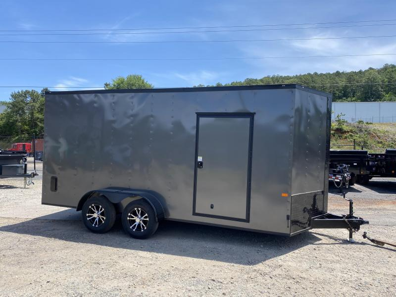 New 2020 Rock Solid 7ft x 16ft 7k Tandem Axle  Bumper Pull Enclosed w/7ft walls (Charcoal Gray w/ BO)