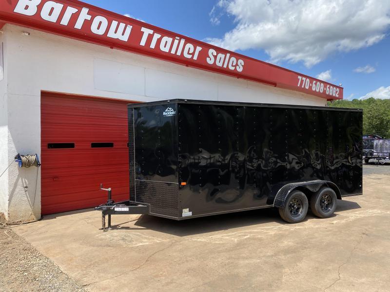 New 2020 Rock Solid 7ft x 16ft 7k Tandem Axle  Bumper Pull Enclosed w/6ft walls (Black w/ BO)