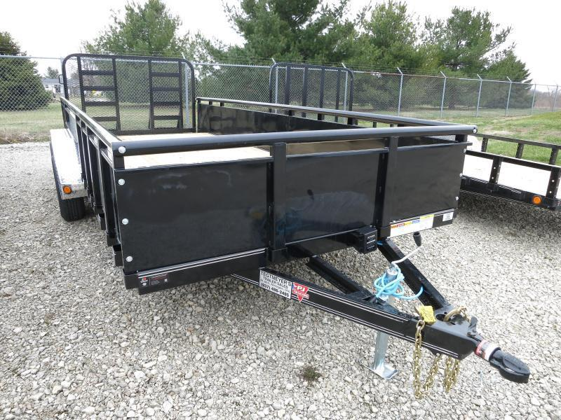"PJ Trailers 7' x 16' Utility Trailer w/ HD Fold Up Gate and 22"" Metal Side"