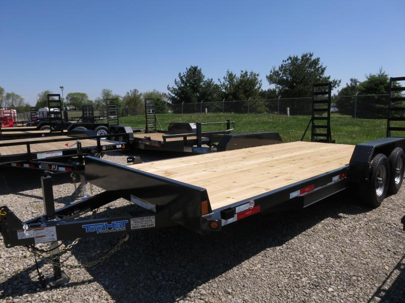 Top Hat Trailers 18' Flatbed with stand up ramps